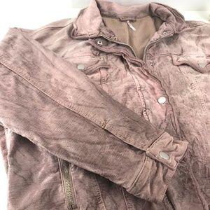 Free People Jackets & Coats - Free People Crushed Velvet Trucker Jacket Rose M/L